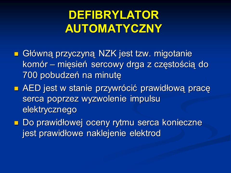 DEFIBRYLATOR AUTOMATYCZNY Główną przyczyną NZK jest tzw. migotanie komór – mięsień sercowy drga z częstością do 700 pobudzeń na minutę Główną przyczyn