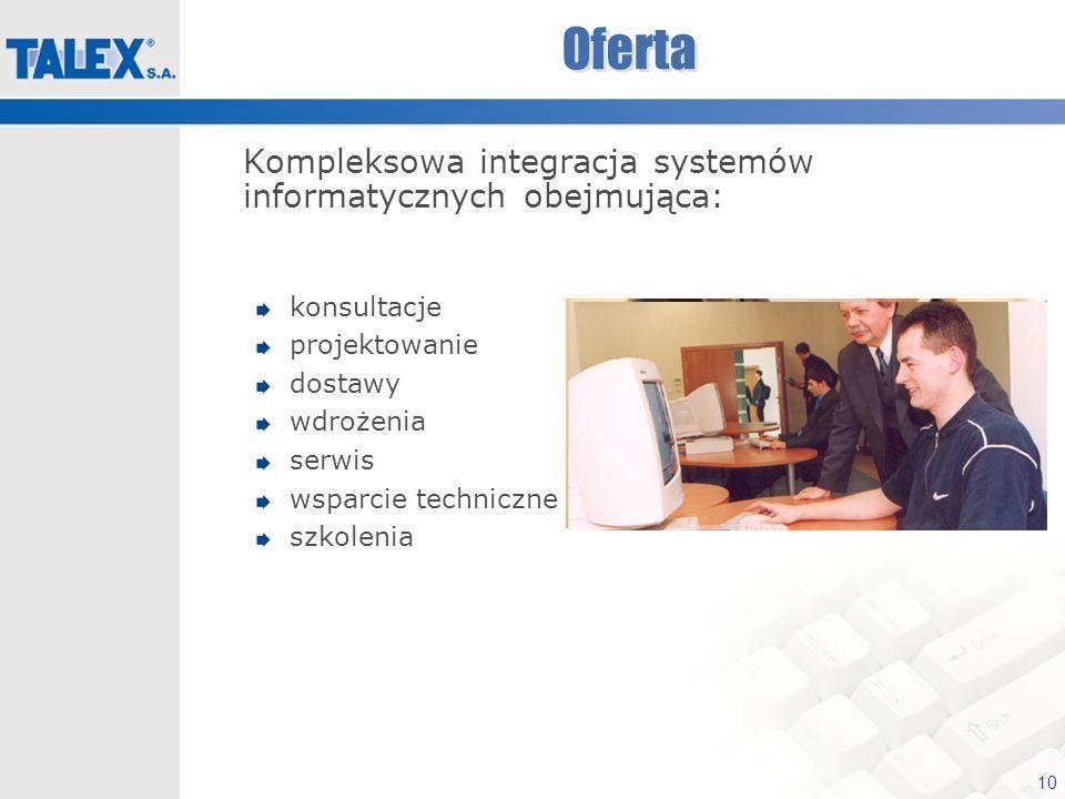 10 Oferta Kompleksowa integracja systemów informatycznych obejmująca: konsultacje projektowanie dostawy wdrożenia serwis wsparcie techniczne szkolenia