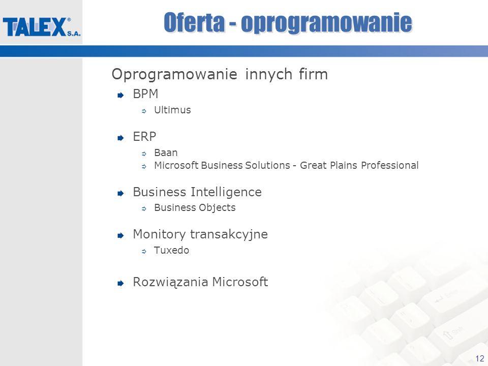 12 Oferta - oprogramowanie Oprogramowanie innych firm BPM Ultimus ERP Baan Microsoft Business Solutions - Great Plains Professional Business Intellige