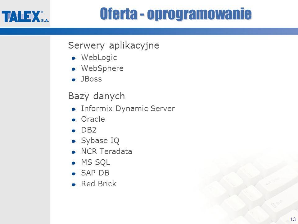 13 Oferta - oprogramowanie Serwery aplikacyjne WebLogic WebSphere JBoss Bazy danych Informix Dynamic Server Oracle DB2 Sybase IQ NCR Teradata MS SQL S