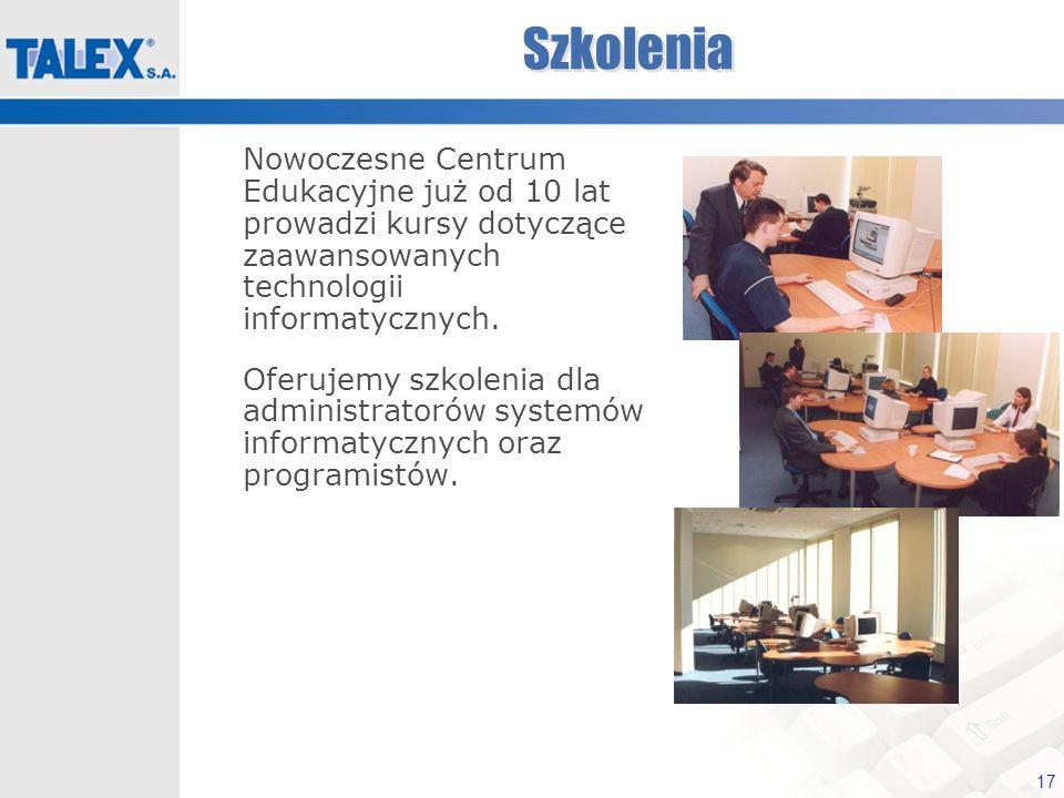 17 Szkolenia Nowoczesne Centrum Edukacyjne już od 10 lat prowadzi kursy dotyczące zaawansowanych technologii informatycznych. Oferujemy szkolenia dla