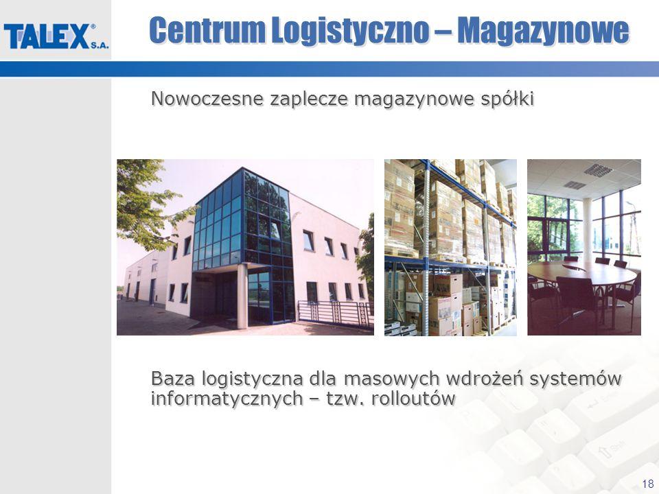 18 Centrum Logistyczno – Magazynowe Nowoczesne zaplecze magazynowe spółki Nowoczesne zaplecze magazynowe spółki Baza logistyczna dla masowych wdrożeń