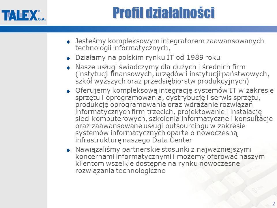 2 Profil działalności Jesteśmy kompleksowym integratorem zaawansowanych technologii informatycznych, Działamy na polskim rynku IT od 1989 roku Nasze u