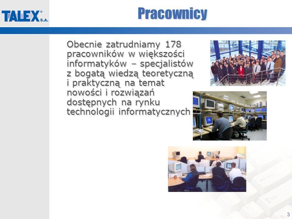 3 Pracownicy Obecnie zatrudniamy 178 pracowników w większości informatyków – specjalistów z bogatą wiedzą teoretyczną i praktyczną na temat nowości i