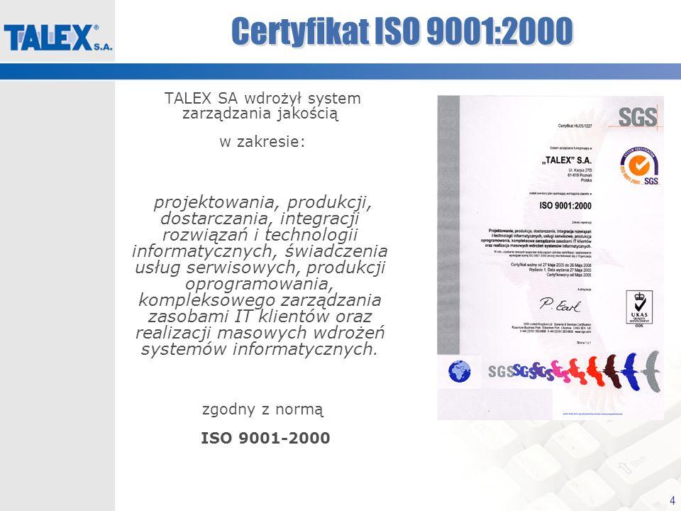 4 Certyfikat ISO 9001:2000 TALEX SA wdrożył system zarządzania jakością w zakresie: projektowania, produkcji, dostarczania, integracji rozwiązań i tec