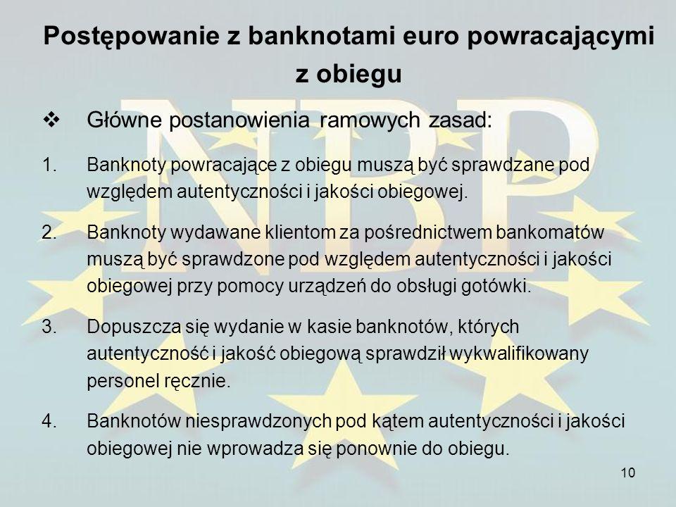 10 Postępowanie z banknotami euro powracającymi z obiegu Główne postanowienia ramowych zasad: 1.Banknoty powracające z obiegu muszą być sprawdzane pod
