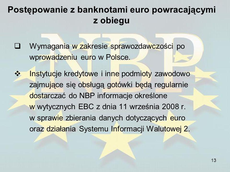 13 Postępowanie z banknotami euro powracającymi z obiegu Wymagania w zakresie sprawozdawczości po wprowadzeniu euro w Polsce. Instytucje kredytowe i i