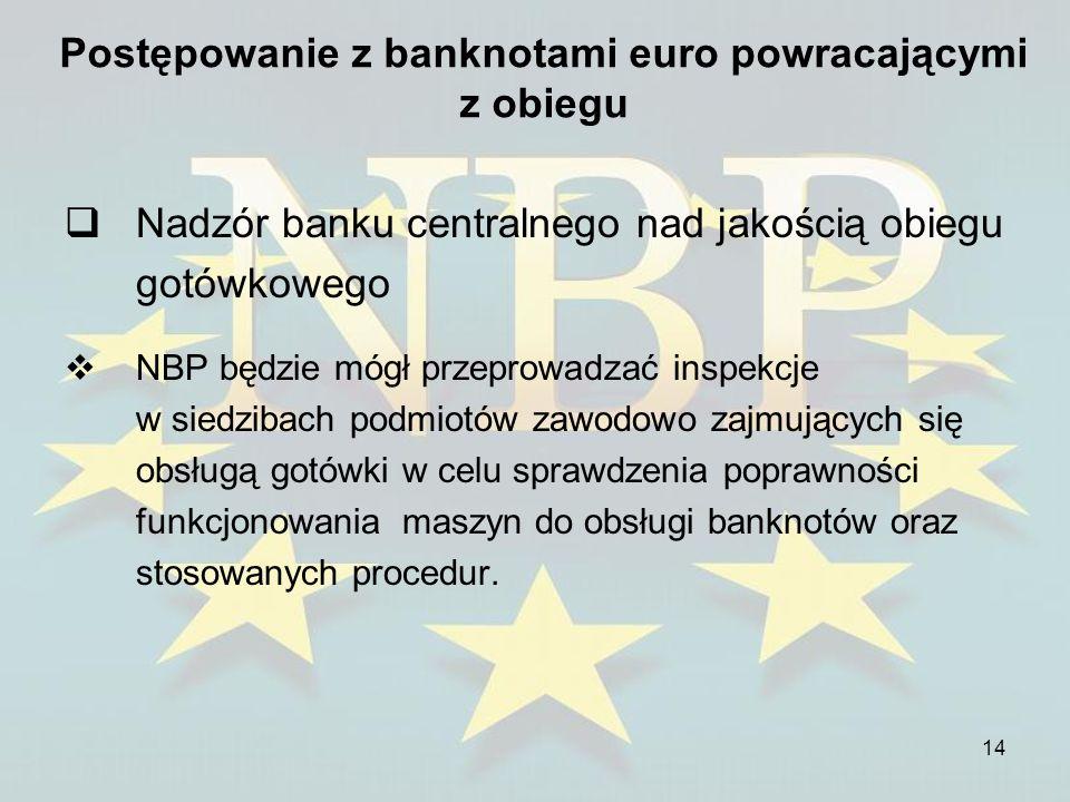 14 Postępowanie z banknotami euro powracającymi z obiegu Nadzór banku centralnego nad jakością obiegu gotówkowego NBP będzie mógł przeprowadzać inspek