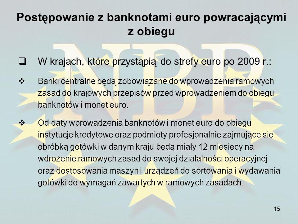 15 Postępowanie z banknotami euro powracającymi z obiegu W krajach, które przystąpią do strefy euro po 2009 r.: Banki centralne będą zobowiązane do wp