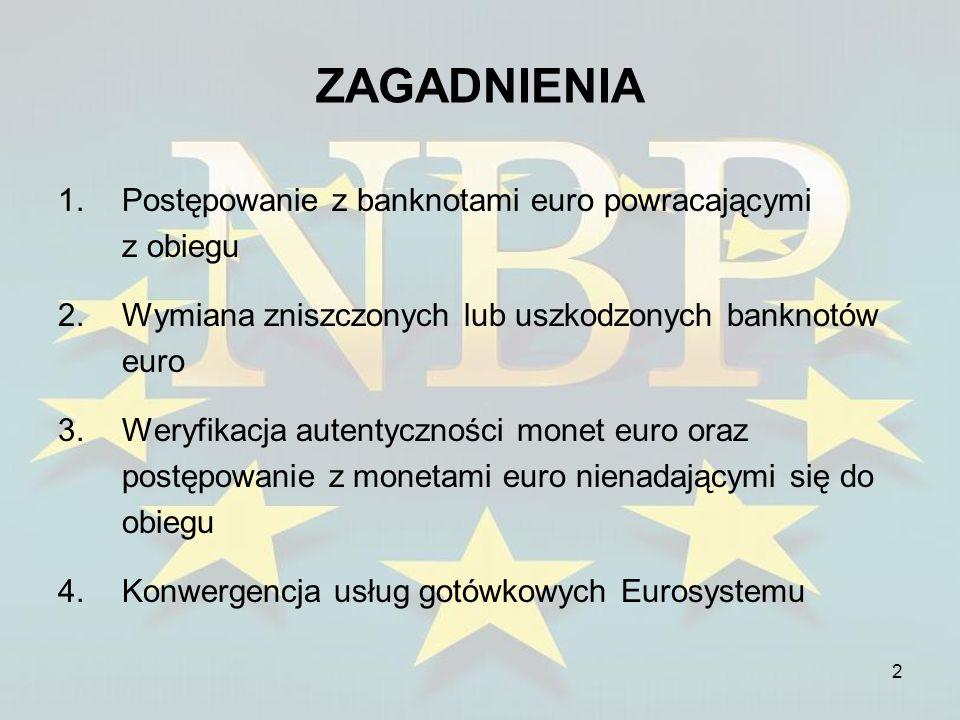 2 ZAGADNIENIA 1.Postępowanie z banknotami euro powracającymi z obiegu 2.Wymiana zniszczonych lub uszkodzonych banknotów euro 3.Weryfikacja autentyczno
