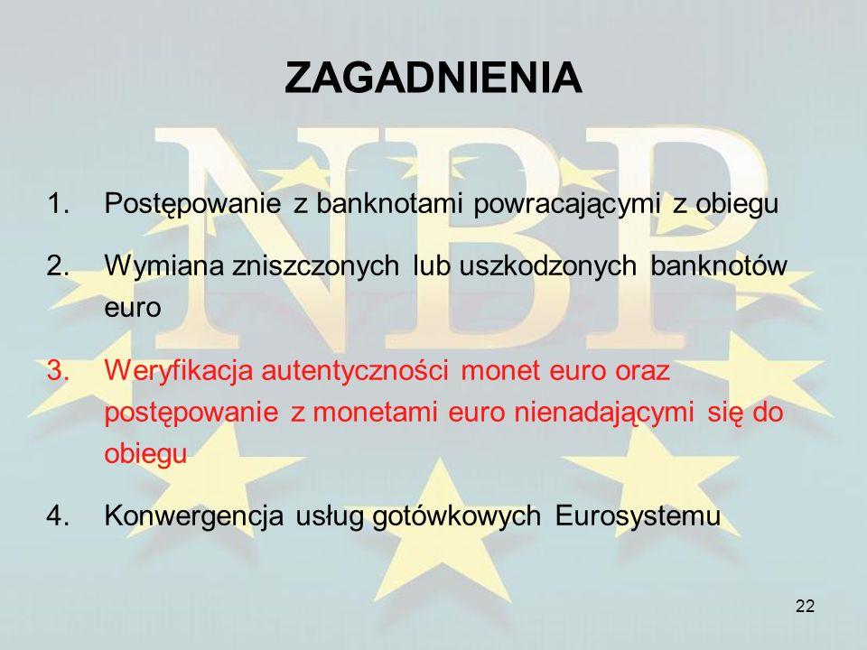22 ZAGADNIENIA 1.Postępowanie z banknotami powracającymi z obiegu 2.Wymiana zniszczonych lub uszkodzonych banknotów euro 3.Weryfikacja autentyczności