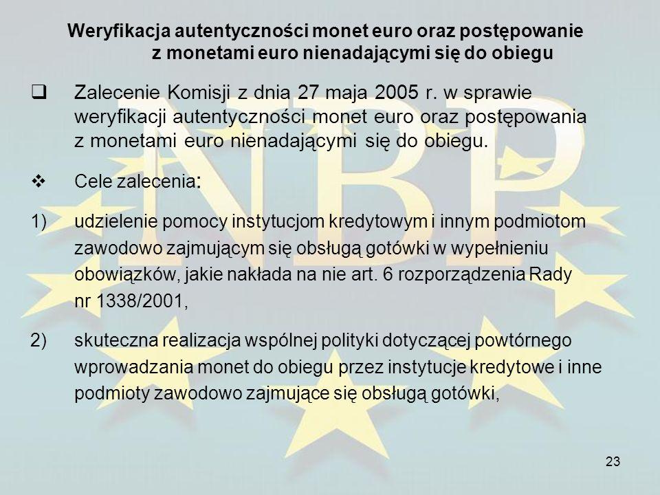 23 Weryfikacja autentyczności monet euro oraz postępowanie z monetami euro nienadającymi się do obiegu Zalecenie Komisji z dnia 27 maja 2005 r. w spra