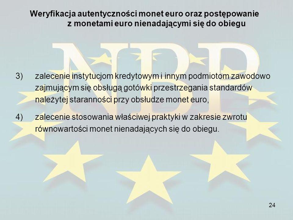 24 Weryfikacja autentyczności monet euro oraz postępowanie z monetami euro nienadającymi się do obiegu 3)zalecenie instytucjom kredytowym i innym podm