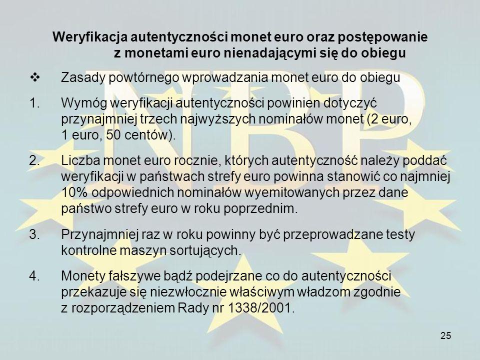 25 Weryfikacja autentyczności monet euro oraz postępowanie z monetami euro nienadającymi się do obiegu Zasady powtórnego wprowadzania monet euro do ob