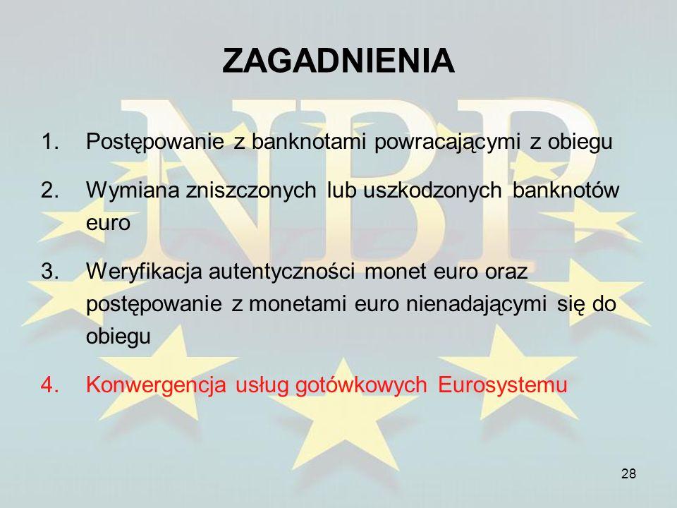 28 ZAGADNIENIA 1.Postępowanie z banknotami powracającymi z obiegu 2.Wymiana zniszczonych lub uszkodzonych banknotów euro 3.Weryfikacja autentyczności