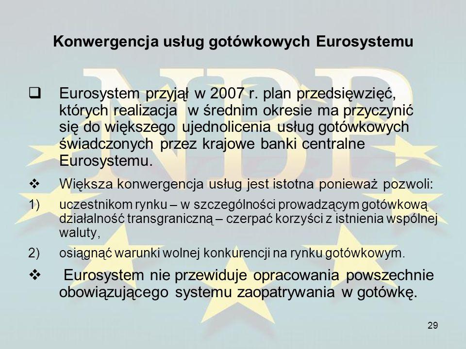 29 Konwergencja usług gotówkowych Eurosystemu Eurosystem przyjął w 2007 r. plan przedsięwzięć, których realizacja w średnim okresie ma przyczynić się