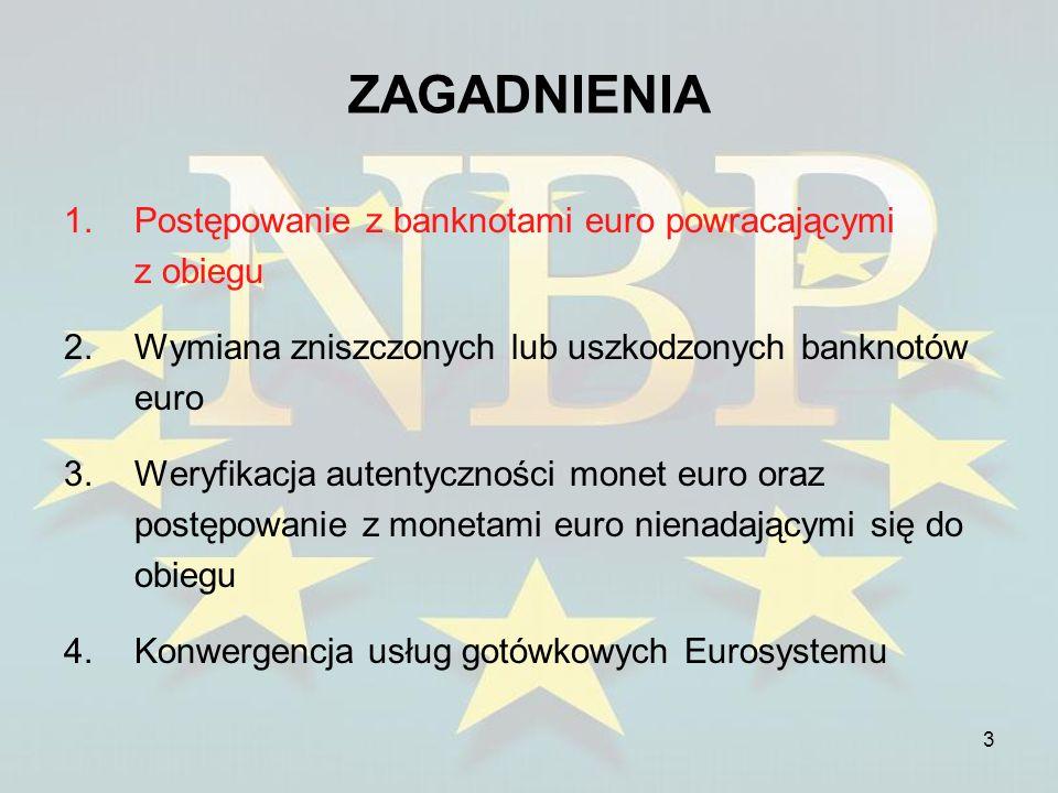 3 ZAGADNIENIA 1.Postępowanie z banknotami euro powracającymi z obiegu 2.Wymiana zniszczonych lub uszkodzonych banknotów euro 3.Weryfikacja autentyczno