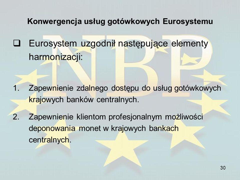 30 Konwergencja usług gotówkowych Eurosystemu Eurosystem uzgodnił następujące elementy harmonizacji: 1.Zapewnienie zdalnego dostępu do usług gotówkowy