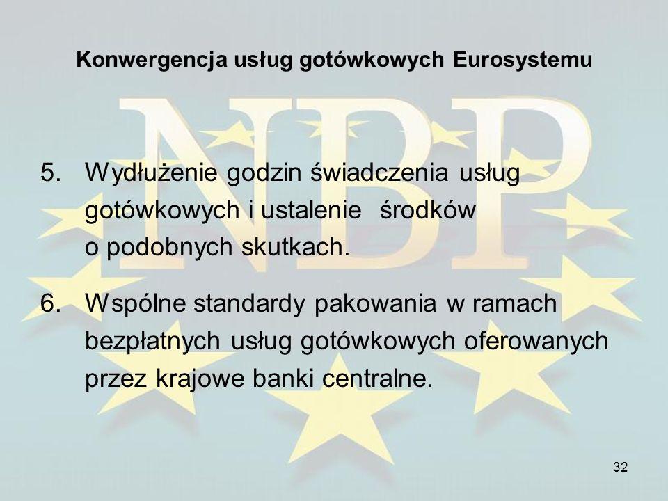 32 Konwergencja usług gotówkowych Eurosystemu 5.Wydłużenie godzin świadczenia usług gotówkowych i ustalenie środków o podobnych skutkach. 6.Wspólne st