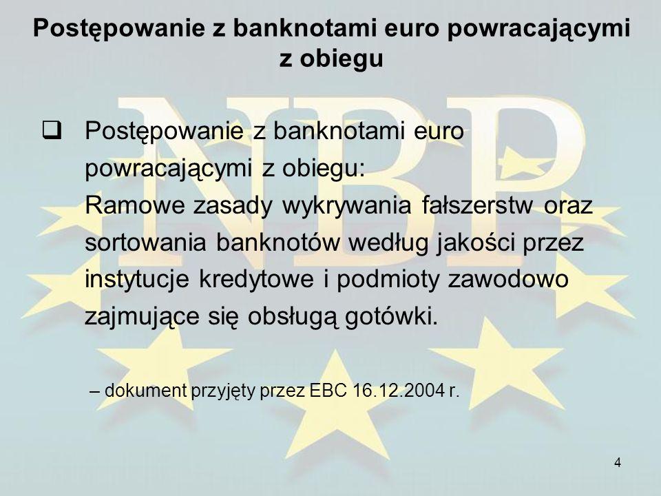 5 Postępowanie z banknotami euro powracającymi z obiegu Główne cele dokumentu: 1.Udzielenie pomocy instytucjom kredytowym i innym podmiotom zawodowo zajmującym się obsługą gotówki w wypełnieniu obowiązków, jakie nakłada na nie art.
