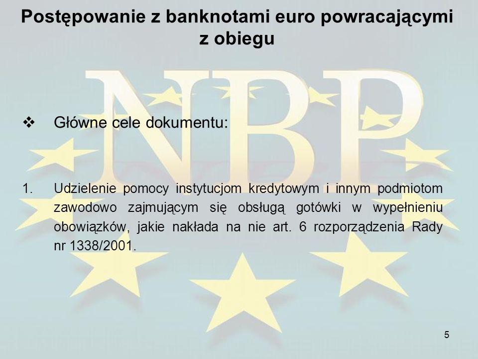 5 Postępowanie z banknotami euro powracającymi z obiegu Główne cele dokumentu: 1.Udzielenie pomocy instytucjom kredytowym i innym podmiotom zawodowo z