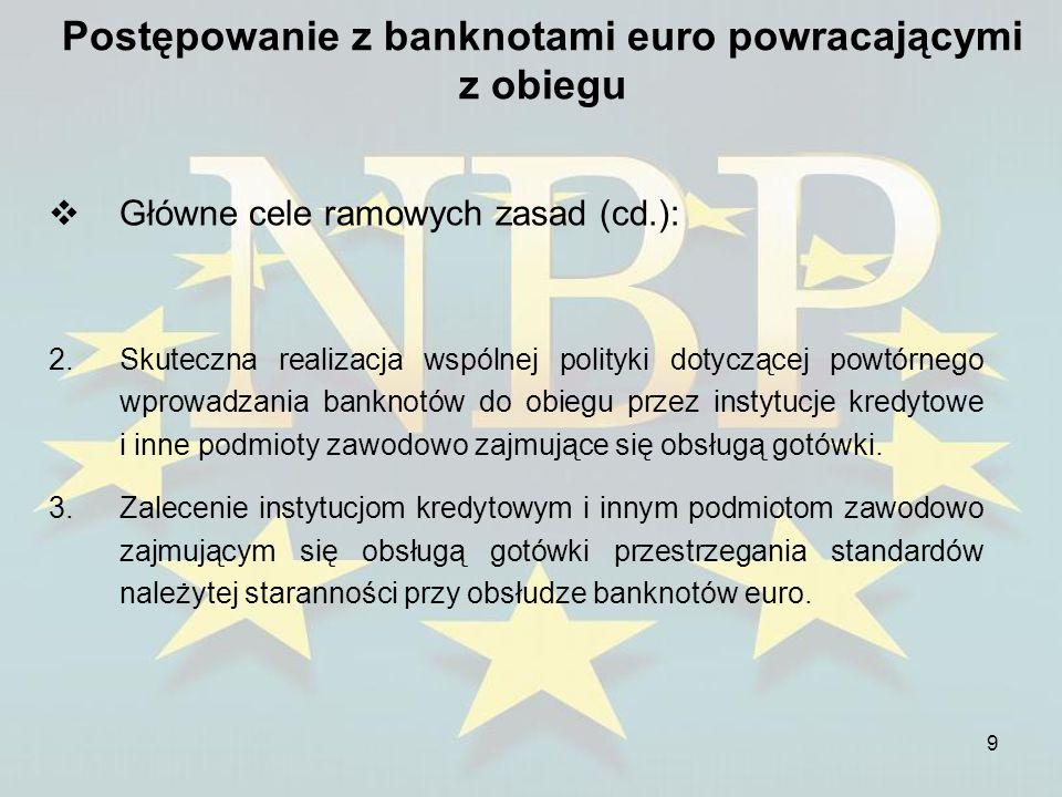 10 Postępowanie z banknotami euro powracającymi z obiegu Główne postanowienia ramowych zasad: 1.Banknoty powracające z obiegu muszą być sprawdzane pod względem autentyczności i jakości obiegowej.