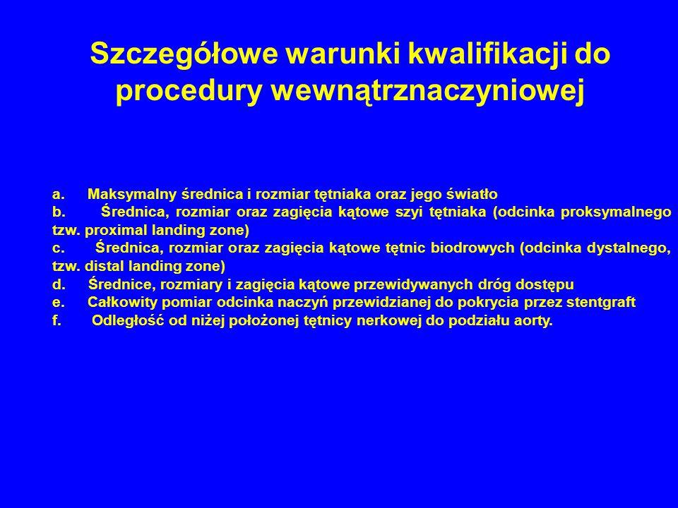 Szczegółowe warunki kwalifikacji do procedury wewnątrznaczyniowej a. Maksymalny średnica i rozmiar tętniaka oraz jego światło b. Średnica, rozmiar ora
