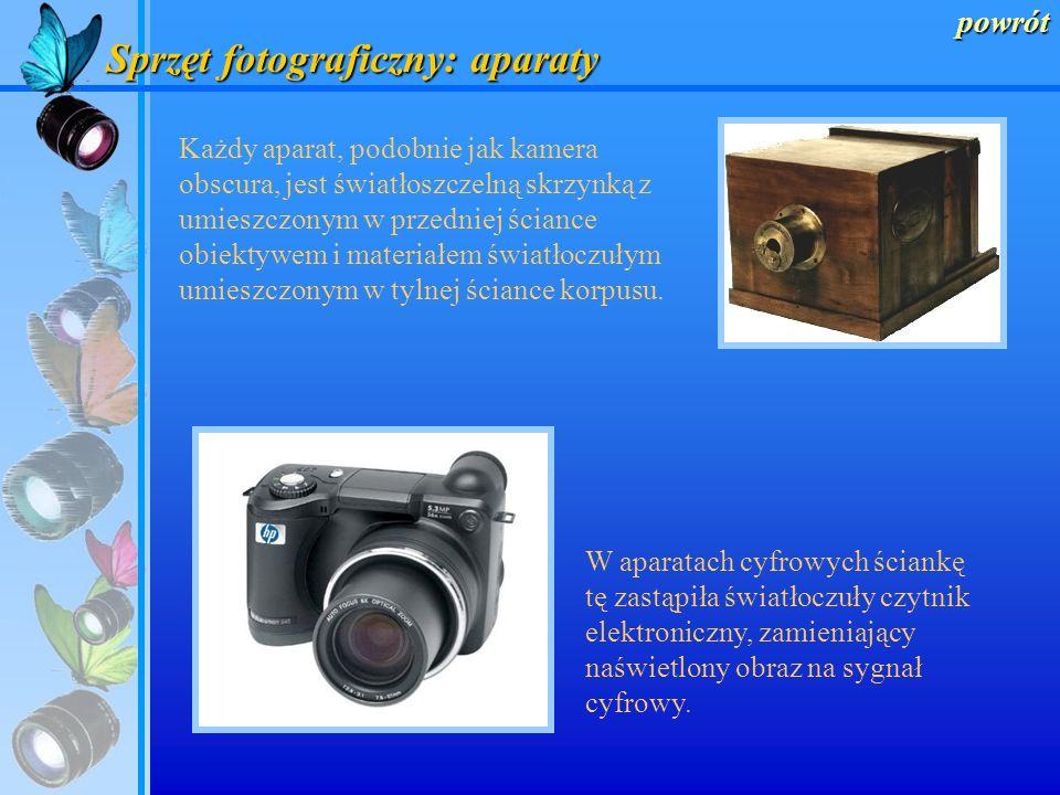 Sprzęt fotograficzny Lampy błyskowe menu Aparaty Obiektywy Wyposażenie dodatkowe