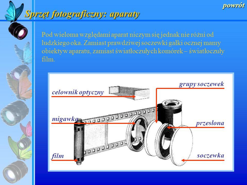 Sprzęt fotograficzny: aparaty powrót Każdy aparat, podobnie jak kamera obscura, jest światłoszczelną skrzynką z umieszczonym w przedniej ściance obiek