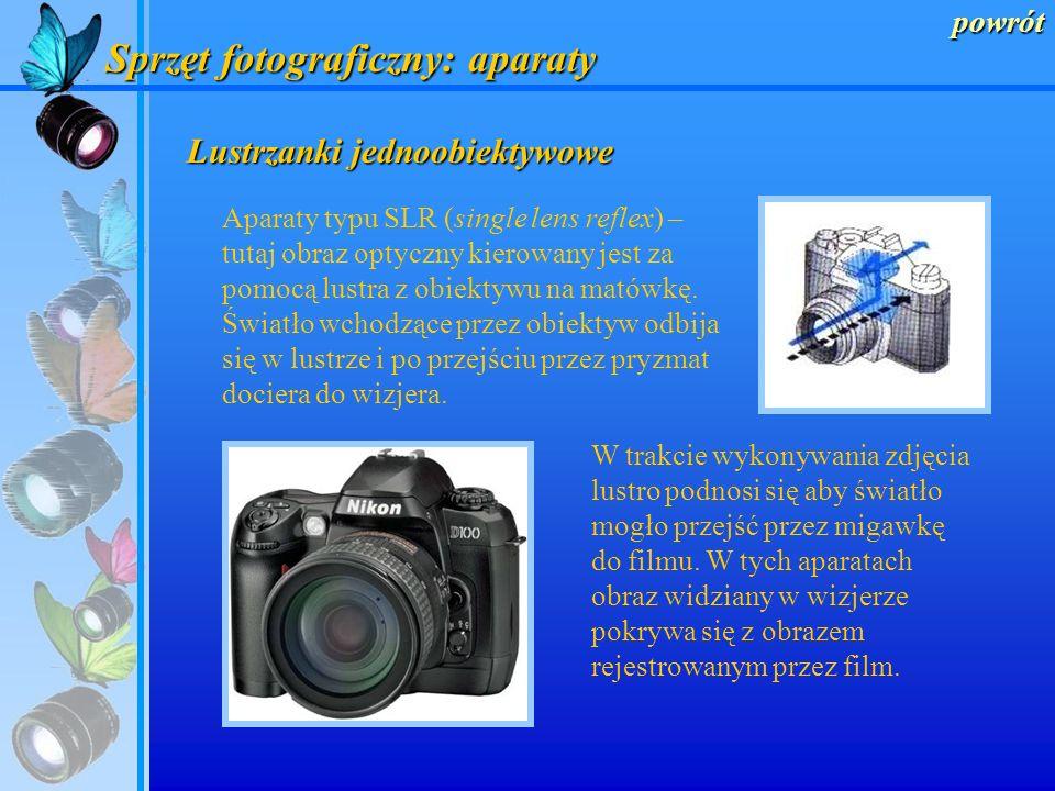powrót Sprzęt fotograficzny: aparaty Aparaty kompaktowe W tego typu aparatach obiektyw i wizjer są niezależne – podobnie jak z wizjerem w drzwiach. Sy