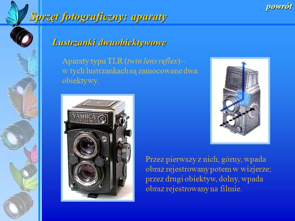 powrót Sprzęt fotograficzny: aparaty Lustrzanki jednoobiektywowe Aparaty typu SLR (single lens reflex) – tutaj obraz optyczny kierowany jest za pomocą
