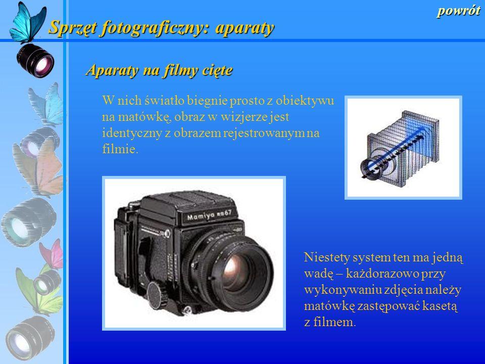 powrót Sprzęt fotograficzny: aparaty Lustrzanki dwuobiektywowe Aparaty typu TLR (twin lens reflex) – w tych lustrzankach są zamocowane dwa obiektywy.
