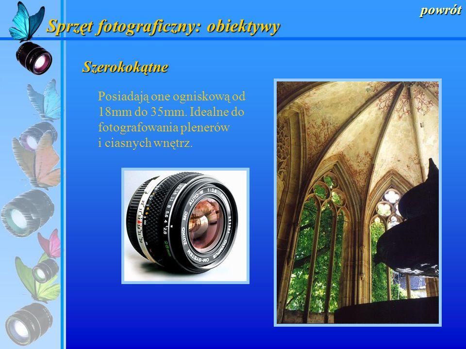 powrót Sprzęt fotograficzny: obiektywy Rybie oczy Obiektywy te, o ogniskowej od 6mm do 8mm mają znacznie szerszy kąt widzenia niż ludzkie oko.