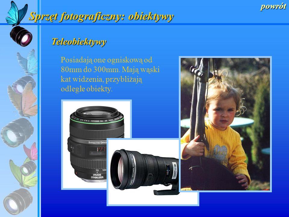 powrót Sprzęt fotograficzny: obiektywy Standardowe Posiadają one ogniskową równą 50mm. Ich sposób widzenia odpowiada naturalnemu widzeniu człowieka.