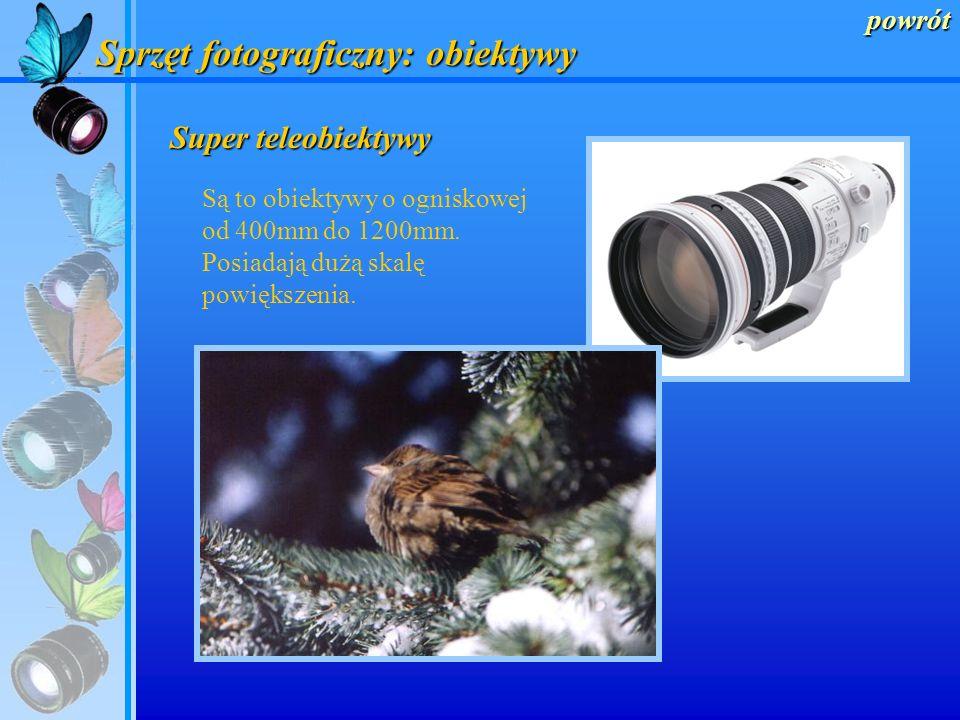 powrót Sprzęt fotograficzny: obiektywy Teleobiektywy Posiadają one ogniskową od 80mm do 300mm. Mają wąski kat widzenia, przybliżają odległe obiekty.