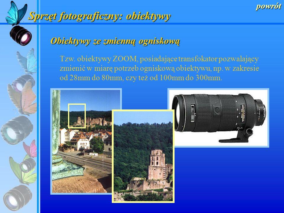 powrót Sprzęt fotograficzny: obiektywy Obiektywy makro Ich specjalna budowa pozwala na uzyskiwanie dużego powiększenia małych obiektów.