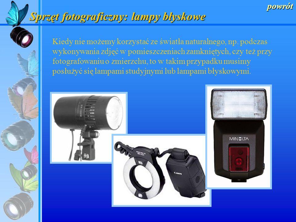 powrót Sprzęt fotograficzny: obiektywy Obiektywy ze zmienną ogniskową Tzw. obiektywy ZOOM, posiadające transfokator pozwalający zmienić w miarę potrze