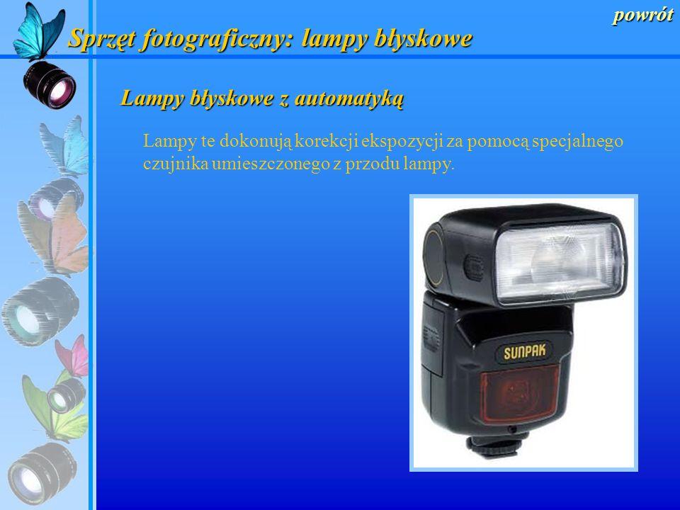 powrót Sprzęt fotograficzny: lampy błyskowe Lampy błyskowe bez automatyki Pracując z takimi lampami musimy samodzielnie wykonać korekcję ekspozycji cz