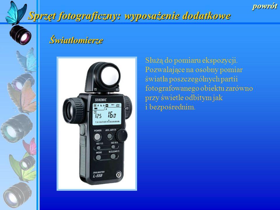 powrót Sprzęt fotograficzny: wyposażenie dodatkowe Do najważniejszego osprzętu aparatu fotograficznego należą: światłomierze statywy silnik przesuwu f