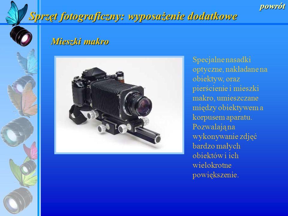 powrót Silnik przesuwu filmu Dodatkowe silniki automatycznego przesuwu filmu do lustrzanek, pozwalające na fotografowanie akcji, czyli wykonanie około