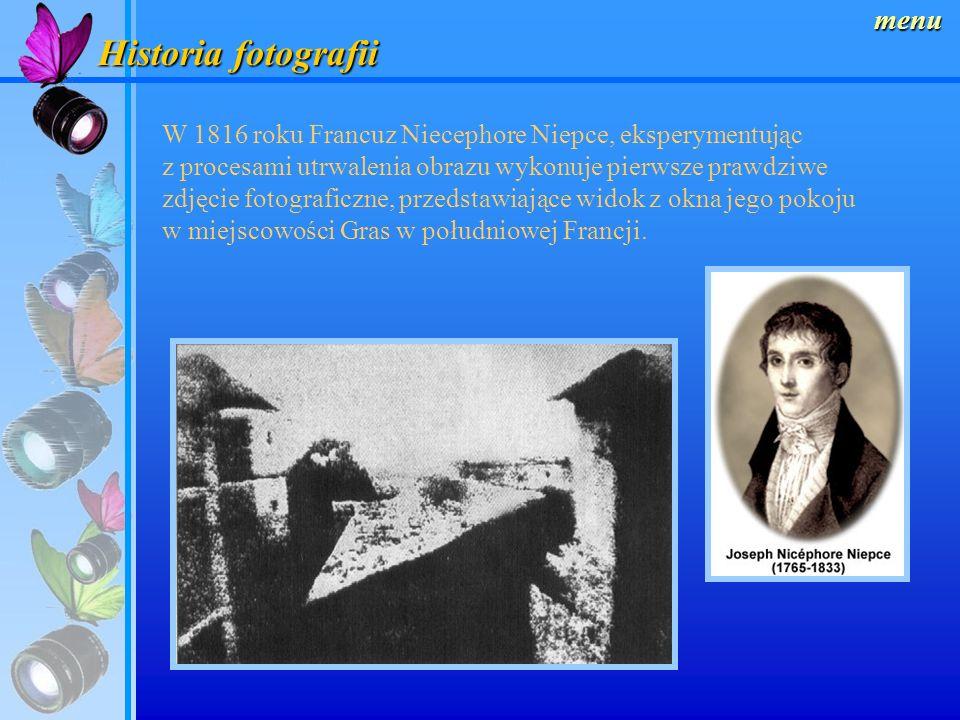 Historia fotografii menu W 1816 roku Francuz Niecephore Niepce, eksperymentując z procesami utrwalenia obrazu wykonuje pierwsze prawdziwe zdjęcie fotograficzne, przedstawiające widok z okna jego pokoju w miejscowości Gras w południowej Francji.