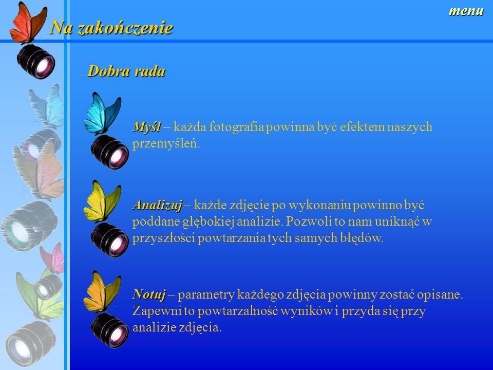 menu Obiektywy ze zmienną ogniskową (ZOOM) Wygodne w stosowaniu, gdyż zastępują kilka obiektywów o stałej ogniskowe.Ułatwiają kadrowanie zdjęć. Wybór