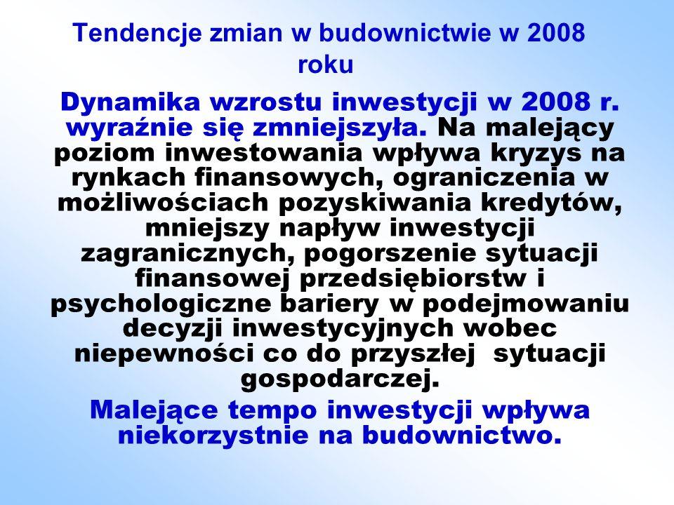 cd TENDENCJE ZMIAN W BUDOWNICTWIE… cd TENDENCJE ZMIAN W BUDOWNICTWIE… Nadal w budownictwie wyższe tempo wzrostu niż w innych dziedzinach gospodarki.