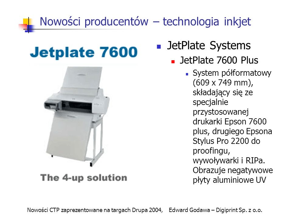 Nowości CTP zaprezentowane na targach Drupa 2004, Edward Godawa – Digiprint Sp.