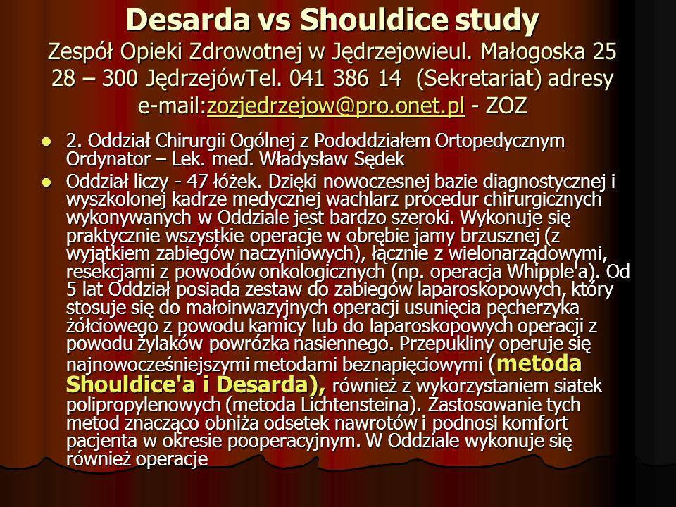 Speakers from different countries Czy operacja Desardy jest alternatywą dla metod z siatką syntetyczną?
