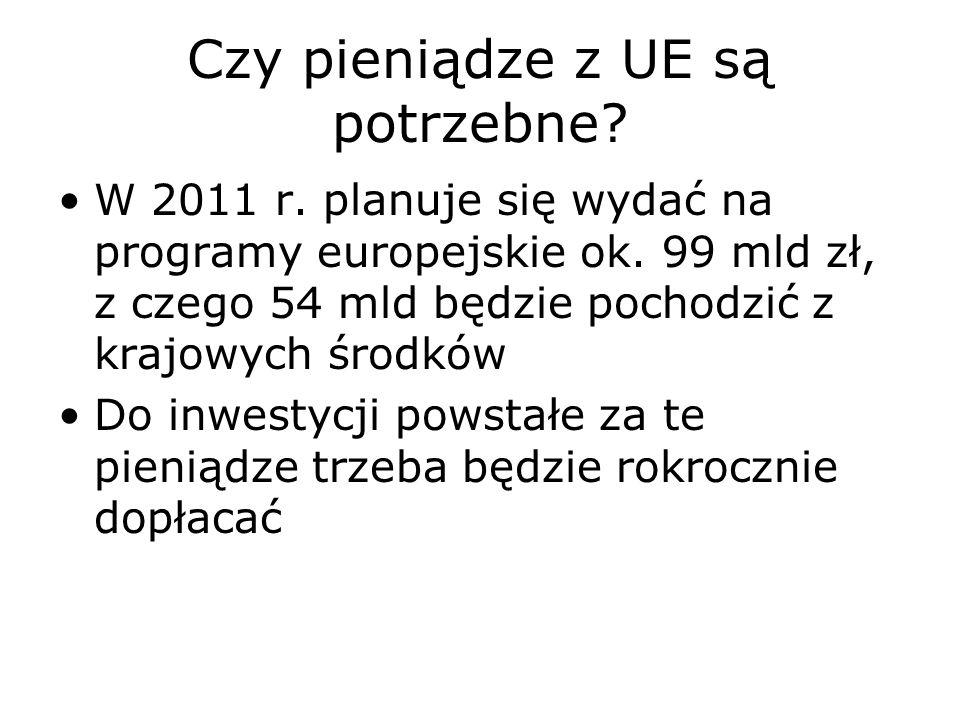 Czy pieniądze z UE są potrzebne? W 2011 r. planuje się wydać na programy europejskie ok. 99 mld zł, z czego 54 mld będzie pochodzić z krajowych środkó