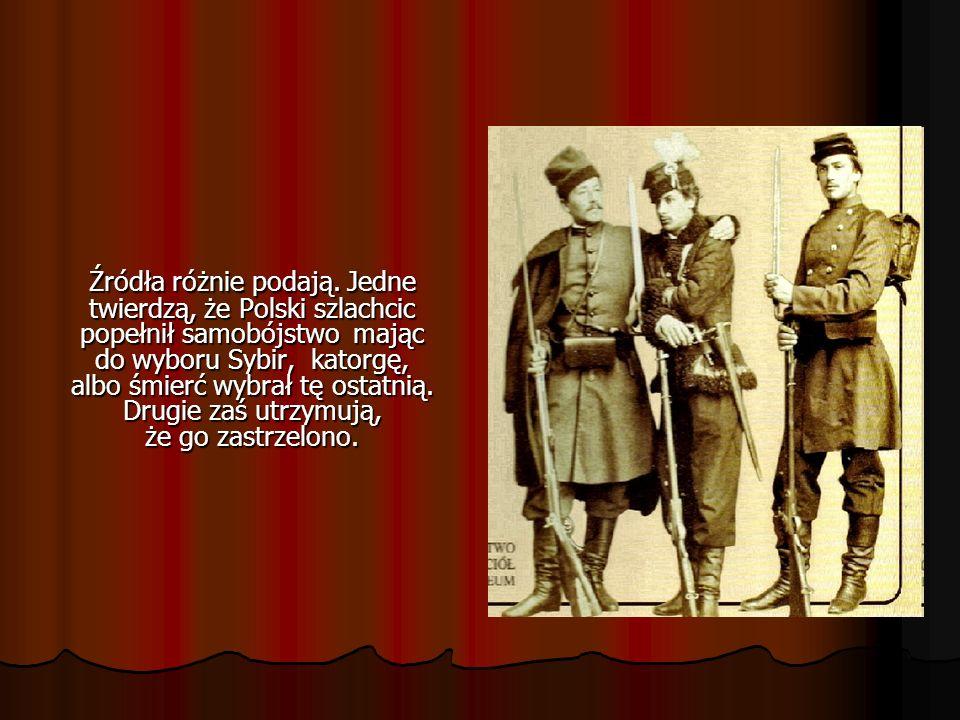 Źródła różnie podają. Jedne twierdzą, że Polski szlachcic popełnił samobójstwo mając do wyboru Sybir, katorgę, albo śmierć wybrał tę ostatnią. Drugie