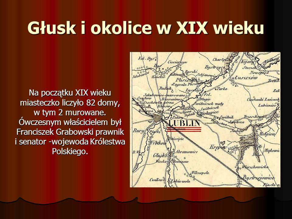 Głusk i okolice w XIX wieku Na początku XIX wieku miasteczko liczyło 82 domy, w tym 2 murowane. Ówczesnym właścicielem był Franciszek Grabowski prawni