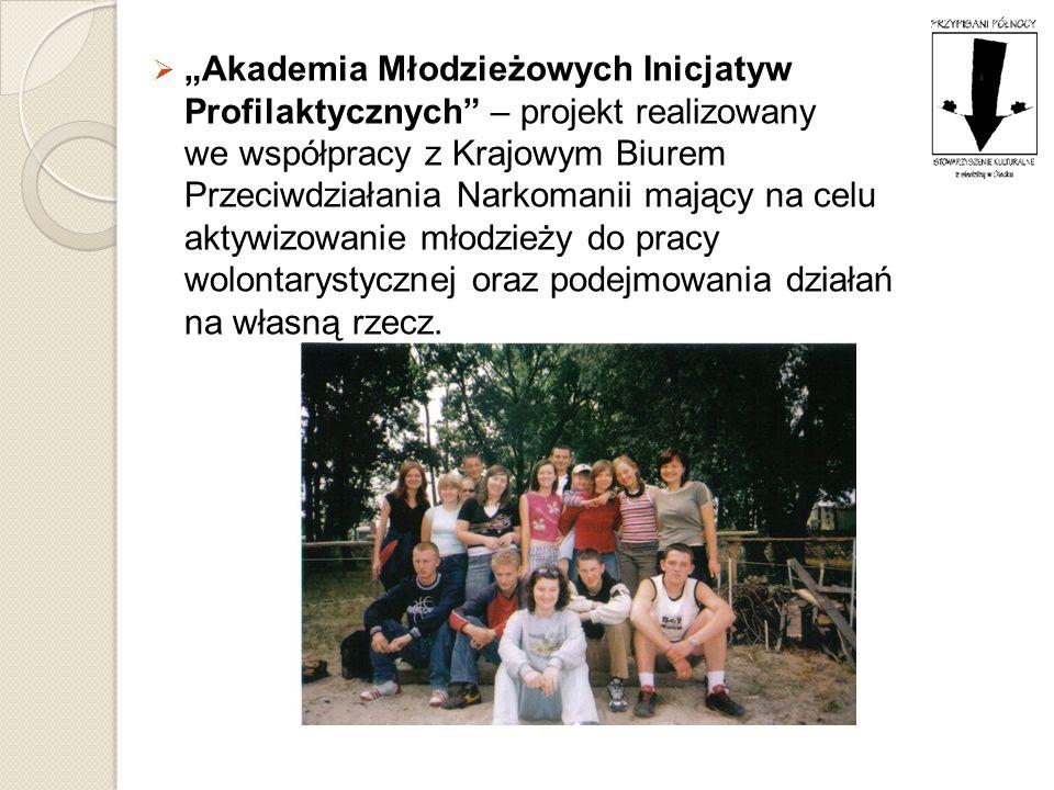 Akademia Młodzieżowych Inicjatyw Profilaktycznych – projekt realizowany we współpracy z Krajowym Biurem Przeciwdziałania Narkomanii mający na celu akt