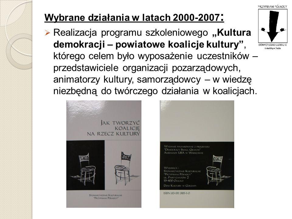 Wybrane działania w latach 2000-2007 : Realizacja programu szkoleniowego Kultura demokracji – powiatowe koalicje kultury, którego celem było wyposażen